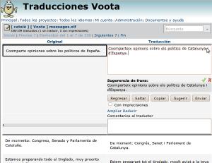 Interfaz de traducciones - Pootle