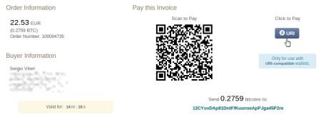 Pantalla de pago con bitcoins en Zacatrus